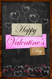 Happy Valentine's Day on Blackboard. Happy Valentine's Day Simple Card paper - Dark background Royalty Free Stock Photography