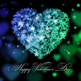 Happy Valentine's Day. Blue and green heart with the stars Stock Photography