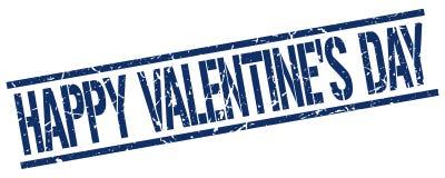 Happy Valentine`s day blue grunge square rubber stamp. Happy Valentine`s day blue grunge square vintage rubber stamp Stock Illustration