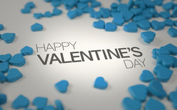 Happy Valentine`s Day Blue Love Candy 3D Rendering. Design Royalty Free Stock Images