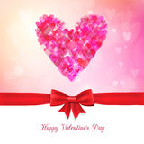 Happy Valentine's Day bokeh background with ribbon and bow Stock Photos