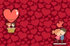 Happy Valentine`s day border. Romantic drawn couple kissing and making flight with heart air baloon. Hearts on background. Copy. Space. Art illustration vector illustration