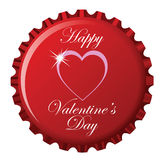 Happy valentine's day bottle cap Royalty Free Stock Photography