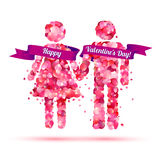 Happy Valentine`s Day. Boy and girl holding hands Royalty Free Stock Images
