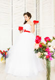 Happy Valentine's Day. Bride with red heart. Wedding and Valentine concept. Stock Photo