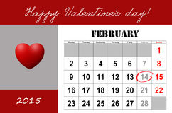 Happy Valentine's day calendar Royalty Free Stock Images
