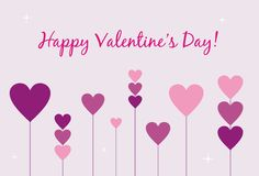 Happy Valentine's Day Card. With hearts Stock Images