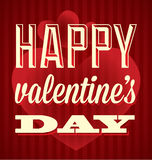 Happy Valentines Day Card. Stripped background Happy Valentines Day card in red Royalty Free Stock Photos