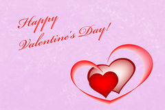 Happy Valentine's Day card background on pink with hearts Stock Photos