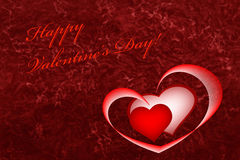 Happy Valentine's Day card background on red with hearts Royalty Free Stock Photos