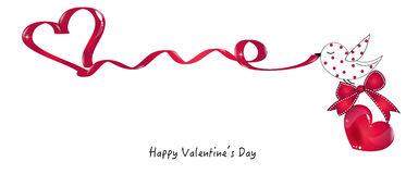 Happy Valentine's Day card with bird holding a heart ribbon vector greeting card Stock Photos