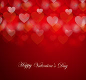 Happy Valentine`s day card with bokeh hearts background. Vector illustration Stock Image