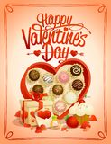 Happy Valentine`s day card with box of chocolates. And gifts Royalty Free Stock Photos