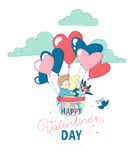 Happy Valentine`s Day card boy girl couple flying heart balloons Royalty Free Stock Photos