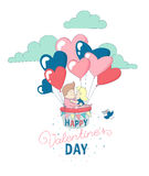 Happy Valentine`s Day card boy girl couple flying heart balloons Royalty Free Stock Image