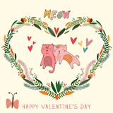 Happy Valentine's Day card in bright colors. Awesome floral romantic invitation card in . Cute cats in cartoon style Stock Images