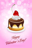 Happy Valentine's Day Card with Cake Royalty Free Stock Photography