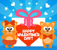 Happy Valentine's day card with cats vector Stock Photography