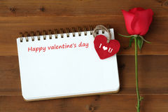 Happy valentine`s day card with copy sape for text and ose, hear Royalty Free Stock Photography
