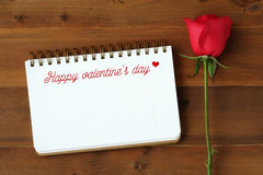 Happy valentine`s day card with copy sape for text and red rose Stock Photos