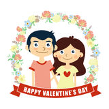 Happy valentine's day card, couple lover, vector Royalty Free Stock Photo