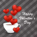 Happy Valentine`s Day card with a cup of coffee and hearts. Vector illustration Royalty Free Stock Photo