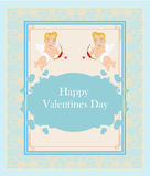 Happy valentine's day - card with cupids Royalty Free Stock Photos