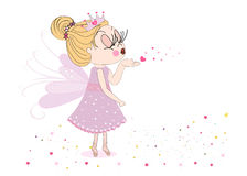 Happy Valentine's Day card with Cute fairy tale sending kiss vector background Royalty Free Stock Photography