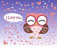Happy Valentine`s Day! Valentine`s Day card with cute flat blue owl with flower on gradient blue background. Vector illustration. I Love You. Bird around hearts Stock Images