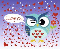 Happy Valentine`s Day! Valentine`s Day card with cute flat blue owl with flower on gradient blue background. Vector illustration. L Love You. Bird around hearts Royalty Free Stock Photography