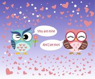 Happy Valentine`s Day! Valentine`s Day card with cute flat pink and blue owl with flower on gradient blue background. Vector illustration. You are mine, And I Stock Photography