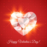 Happy Valentine's day Card with diamond Stock Image