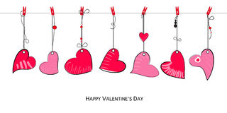 Happy Valentine's Day card with doodle hanging Love Valentines hearts vector Royalty Free Stock Photo