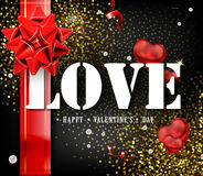 Happy Valentine`s Day card or flyer poster template or design invitations. A sign expressing love. Beautiful luxury holiday background with 3D gold gift bow Royalty Free Stock Photo