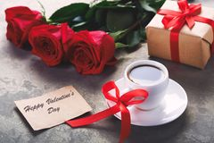Happy valentine`s day card, gift box and red rose stock images