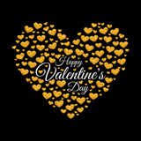 Happy Valentine`s day card of glitter golden heart Stock Images