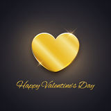 Happy Valentine's Day card, golden heart on dark background Royalty Free Stock Photos