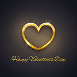 Happy Valentine's Day card, golden heart on dark background, vector Stock Photos
