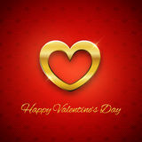 Happy Valentine's Day card, golden heart on red background,  Stock Image