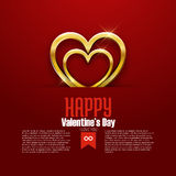Happy Valentine's Day card, golden heart on red background, vector Stock Photos