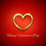 Happy Valentine's Day card, golden heart on red background Stock Photo
