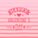 Happy Valentine`s day card with hand-drawn elements, heart, ribbon, arrow, stripe. Cute Typography vector Stock Photos