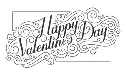 Happy Valentine`s Day card. Hand drawn vector calligraphic inscription. Royalty Free Stock Photos