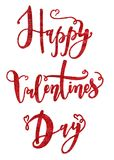 Happy Valentine`s Day card with handwritten lettering. Royalty Free Stock Images