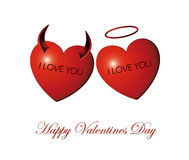 Happy Valentine's Day Card/ Heart Angel and Demon isolated Stock Images