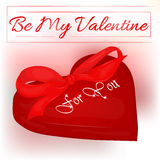 Happy Valentine`s Day card with heart and bow. Background for valentine`s day.  Royalty Free Stock Images