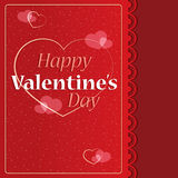 Happy Valentine`s Day card. With heart shapes,golden-red design Stock Photography