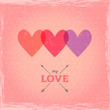 Happy Valentine's Day Card. Heart Stereo effect. Template for de Royalty Free Stock Photos
