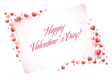 Happy Valentine's Day Card with Hearts Stock Photography