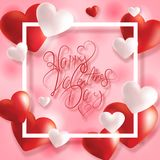 Happy valentine`s day card with hearts Stock Photography